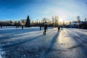 Ледовый каток в парке коломенское днем
